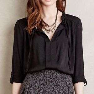 MEADOW RUE Eleri Pleated Blouse Roll Tab Sleeve